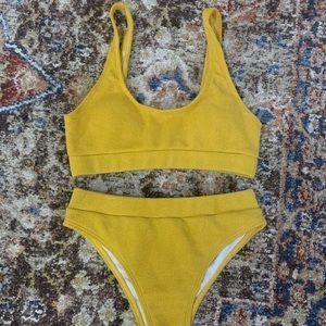 Yellow Knit Bikini